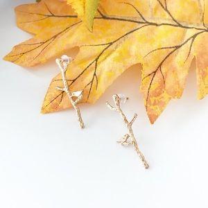 Birds on Sticks Drop Earrings Cute Woodland Dainty
